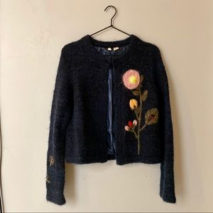Navy blue Moth sweater from Anthropologie
